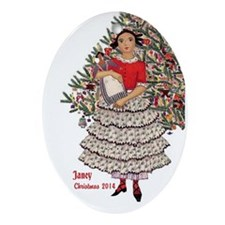 Personalized African American Girl Ornament (oval)