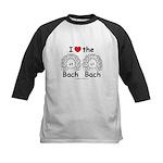 I Love the Bach Double Black Kids Baseball Jersey
