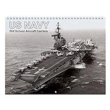 Us Navy Old School Aircraft Carriers Wall Calendar