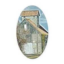 Barb Quilt on the Side Oval Car Magnet