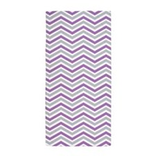 Purple, Gray, White Chevron Stripes Beach Towel