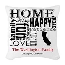 California Text Woven Throw Pillow