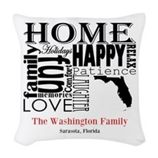Florida Text Woven Throw Pillow