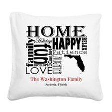 Florida Text Square Canvas Pillow