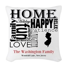 New Jersey Text Woven Throw Pillow