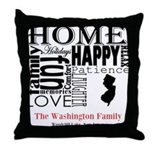 New Jersey Text Throw Pillow