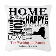 New York Text Woven Throw Pillow