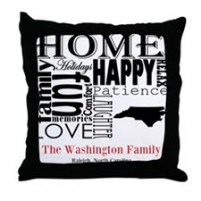 North Carolina Text Throw Pillow