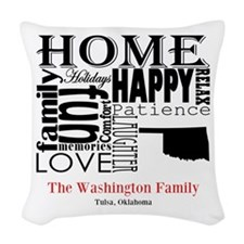 Oklahoma Text Woven Throw Pillow