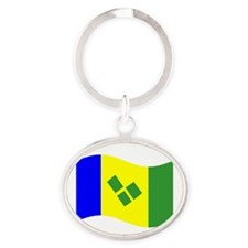 Waving St. Vincent Flag Keychains
