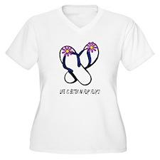 Flip Flops Flowers Multi Plus Size T-Shirt