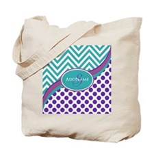 Teal Violet Chevron Dots Personalized Tote Bag