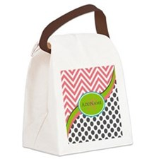 Coral Grey Lime Chevron Dots Mono Canvas Lunch Bag