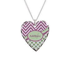 Mint Pink Chevron Dots Person Necklace