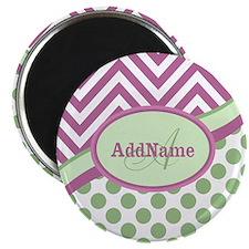 Mint Pink Chevron Dots Personalized Magnet