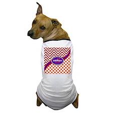 Monogrammed Red Orange Chevron Dots Dog T-Shirt