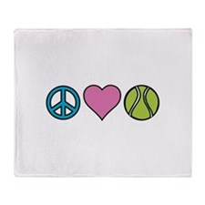 Peace Heart Tennis Throw Blanket