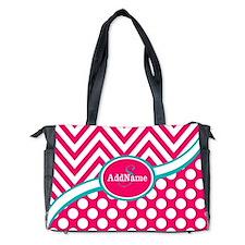 Hot PinkTeal Chevron Dots Monogram Diaper Bag