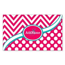 Hot PinkTeal Chevron Dots Mono Decal
