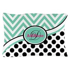 Mint Chevron Black Dots Monogram Pillow Case