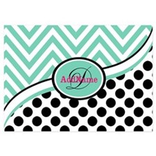 Mint Chevron Black Dots Monogram Invitations