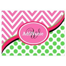 Monogrammed Neon Green Dots Pink Ch Invitations
