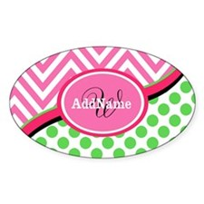 Monogrammed Neon Green Dots P Decal