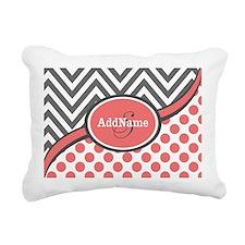 Gray and Coral Chevron C Rectangular Canvas Pillow
