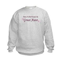 Soon To Be Great Aunt Kids Sweatshirt