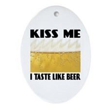 Kiss Me Beer Oval Ornament