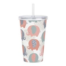Cute Elephants Acrylic Double-wall Tumbler