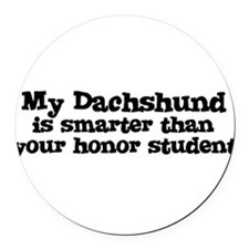 Cute Dog honor student Round Car Magnet