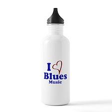 I Heart Blues Music Water Bottle