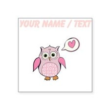 Custom Cartoon Pink Love Owl Sticker