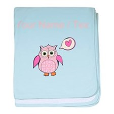 Custom Cartoon Pink Love Owl baby blanket