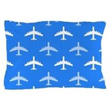 Sky Blue and White Airplane; Plane Pillow Case
