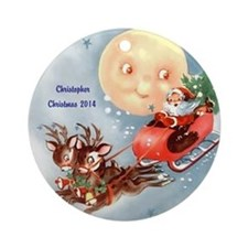 Personalized Santa With Deer And Ornament (round)