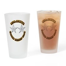 Navy - Rear Admiral - O-8- w Text Drinking Glass