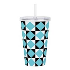 Checkerboard Turquoise Black white Acrylic Double-
