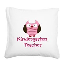 Pink Owl Kindergarten Teacher Square Canvas Pillow