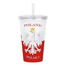Poland Polska PL Flag Acrylic Double-wall Tumbler