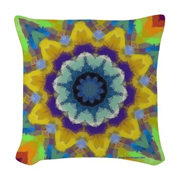 Retro Sunburst Woven Throw Pillow