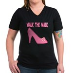 Walk the Walk Women's V-Neck Dark T-Shirt