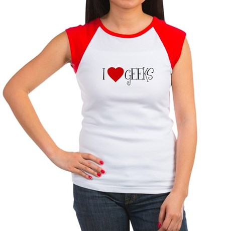 I Love [heart] Geeks Womens Cap Sleeve T-Shirt