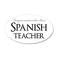 Remain Calm Spanish Teacher 20x12 Oval Wall Decal