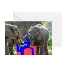 Unwrapping Elephants Greeting Cards
