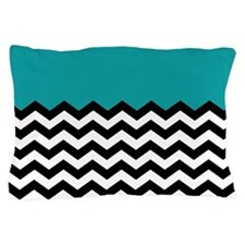 TEAL BLACK chevron blue Pillow Case