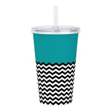 TEAL BLACK chevron blue Acrylic Double-wall Tumble