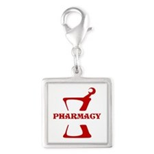 Red Mortar and Pestle Silver Square Charm