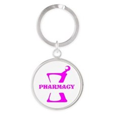 Pink Mortar and Pestle Round Keychain